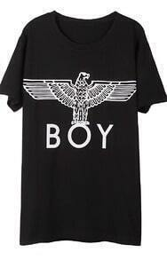 Black Short Sleeve BOY Eagle Print T-Shirt