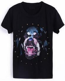Black Short Sleeve Dog Print Rivet T-Shirt