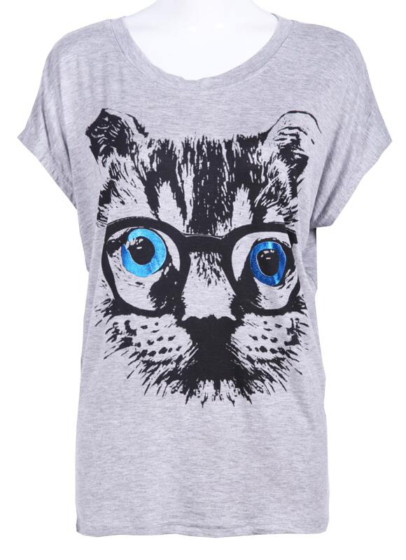 107514ef Cheap Grey Short Sleeve Glass Cat Face Print T-Shirt for sale Australia |  SHEIN
