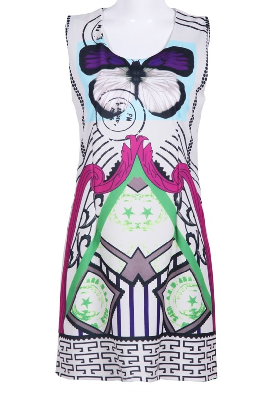 Purple Butterfly Print Sleeveless Cartoon Dress -SHEIN(SHEINSIDE) da0f7fd911d