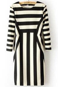Black White Long Sleeve Asymmetrical Striped Dress