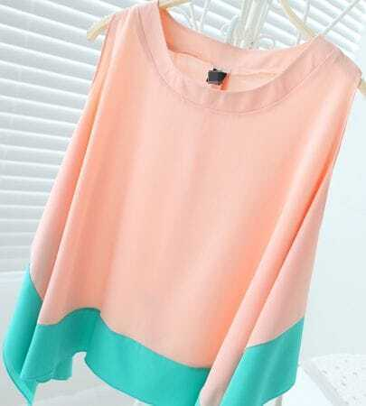 Color matching sleeveless irregular chiffon shirt pink - Matching colours with peach ...