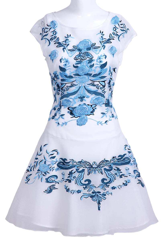 White blue flower embroidery cap sleeve sheath dress sheinsheinside izmirmasajfo Image collections