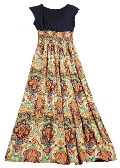 1aae3c385 Vestido plisado estampado étnico-Ocre Galería de estilos