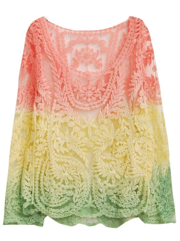dbf54584f Pink Yellow Dip Dye Long Sleeve Hollow Crochet Lace Blouse | SHEIN