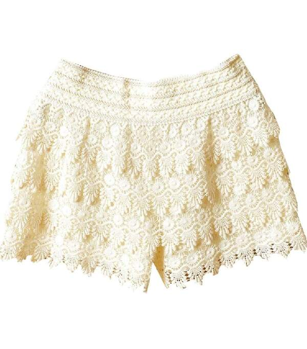 Beige Layered Crochet Lace Shorts Sheinsheinside