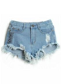 Blue Rivet Pockets Tassel Denim Shorts