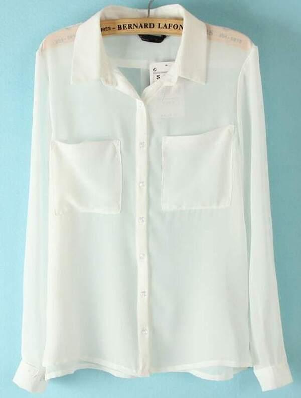163e538139d831 White Long Sleeve Twin Pockets Front Semi Sheer Blouse | SHEIN UK