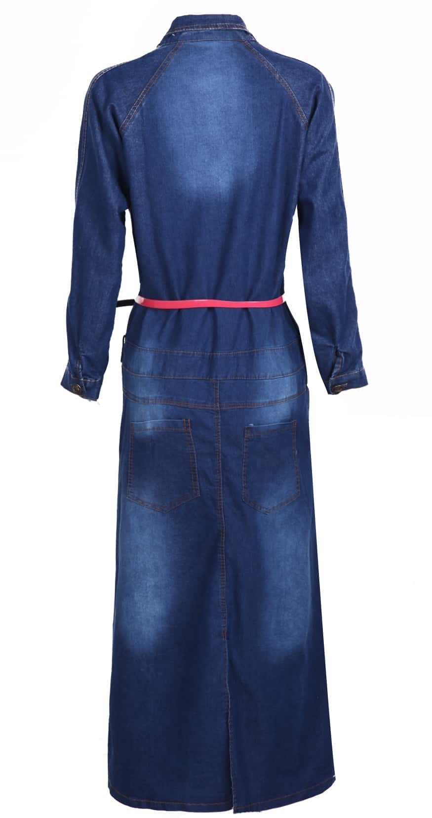blue sleeve split back blenched belt denim dress