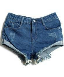 Dark Blue Bleached Ripped Denim Shorts