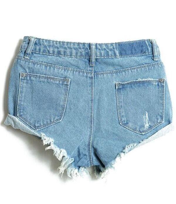 a40d6bdbaeb4a Light Blue Bleached Ripped Denim Shorts