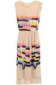Pink Sleeveless Rainbow Print Striped Sundress