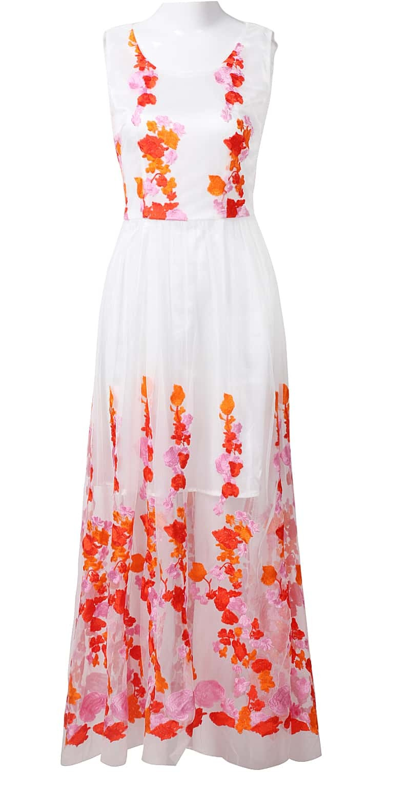 White Sleeveless Embroidered Lace Flowers Maxi Dress Sheinsheinside