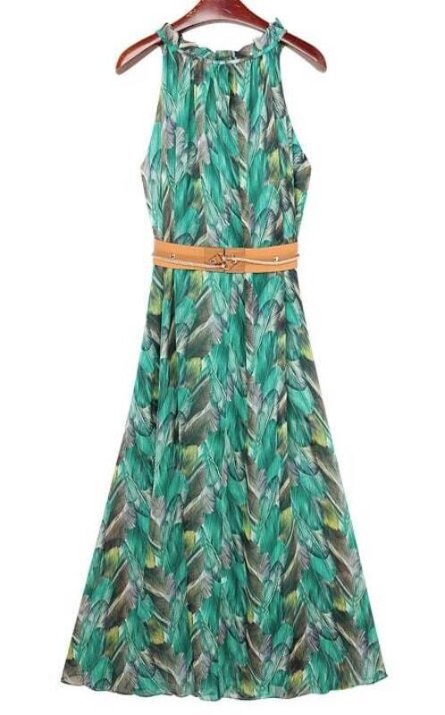 acaedabdc84 Cheap Green Halter Neck Peacock Feather Print Maxi Chiffon Dress for ...
