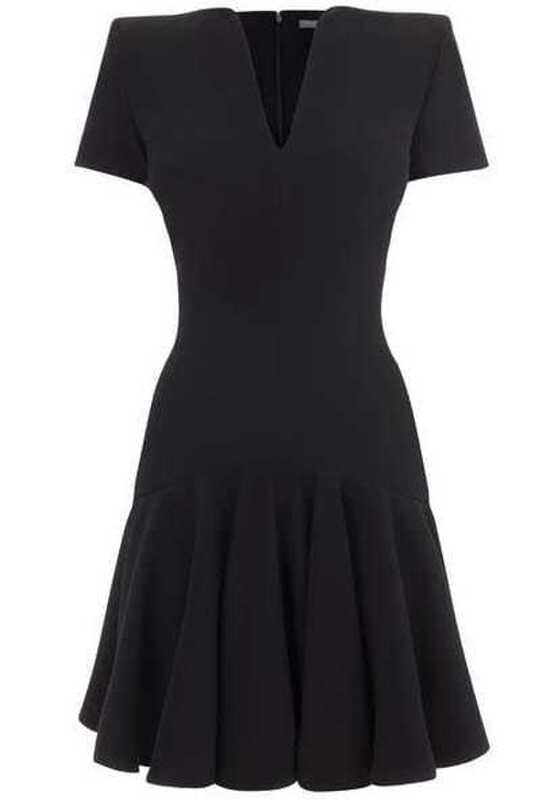 fc1113cd5fe Black V Neck Short Sleeve Shoulder Pads Pleated Dress. AddThis Sharing  Buttons
