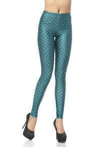 Green Elastic Scale Print Leggings
