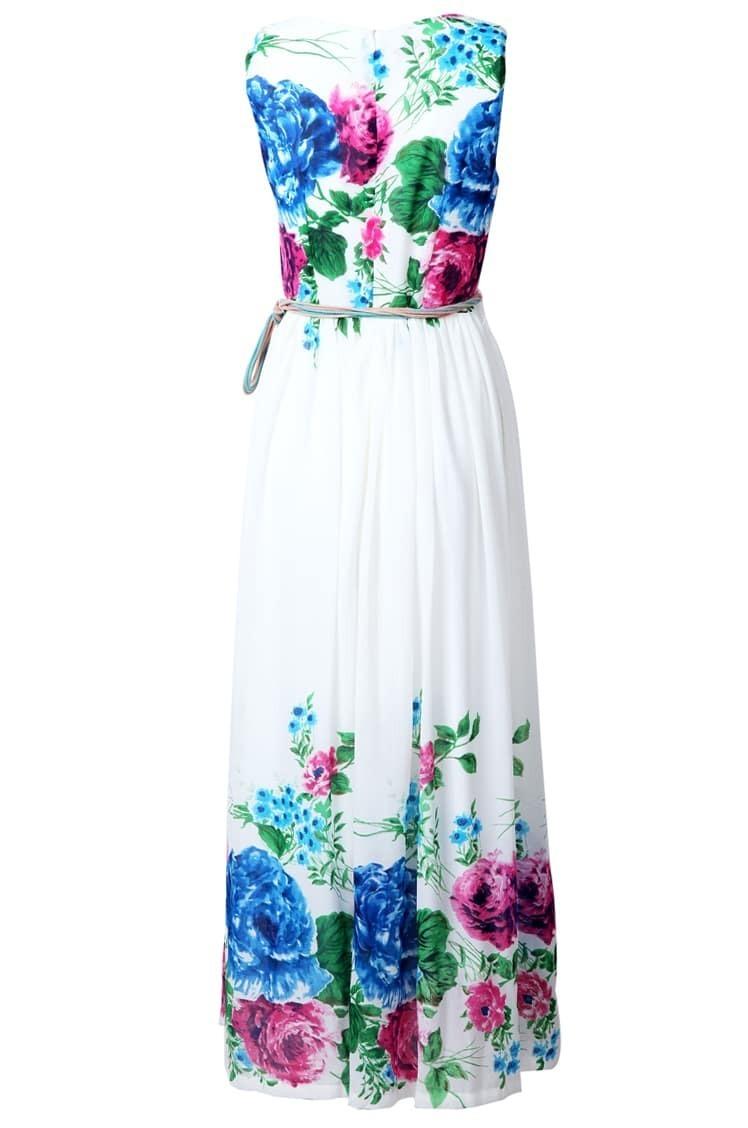 blue white sleeveless applique floral belt dress shein