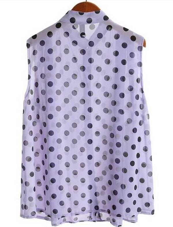 328eef3f0c11cd Light Purple Sleeveless Polka Dot Chiffon Blouse