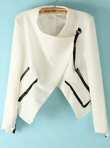 White Long Sleeve Contrast Leather Zipper Jacket