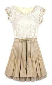 Beige Foam Lace Frill Sleeve Belt Chiffon Pleated Dress