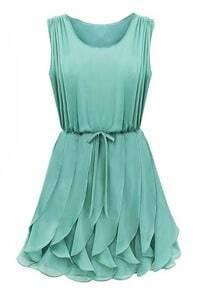 Green Aqua Sleeveless Ruffles Homecomming Battenburg Pleated Chiffon Dress