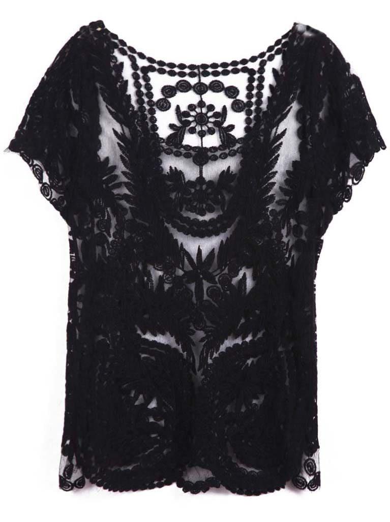Black Short Sleeve Hollow Crochet Lace Top