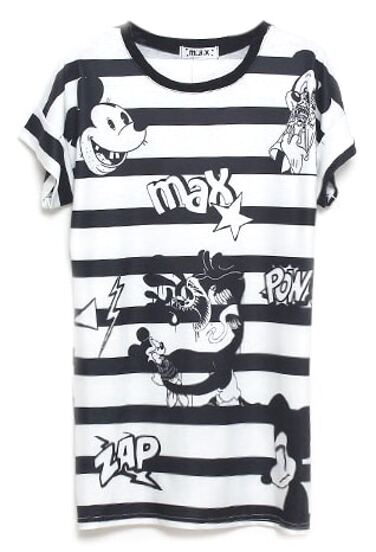 315172b24 Black and White Stripes Mickey Mouse Print T-shirt | SHEIN UK