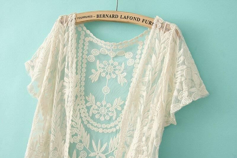 White Short Sleeve Crochet Net Lace Cardigan Shein