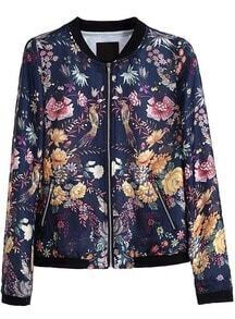 Blue Long Sleeve Zipper Floral Birds Print Jacket