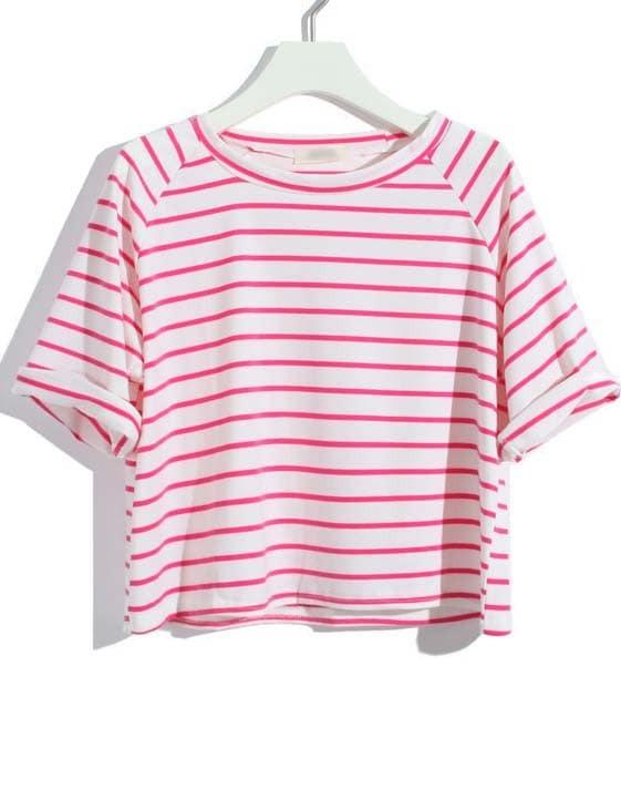 Red White Striped Raglan Sleeve Crop T Shirt Shein Sheinside