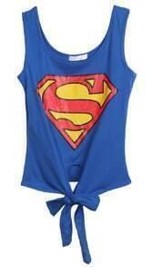 Blue Sleeveless Superman Print Bow Vest