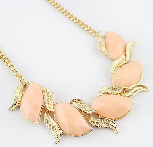 f3bb0af0b688 Collar cadena maxi piedras-Rosa nude