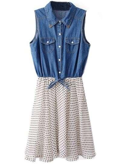f92f526a0b9b7 Blue White Sleeveless Polka Dot Denim Chiffon Dress   SHEIN