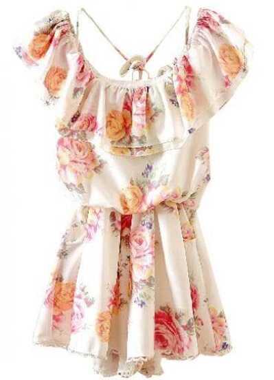 8c9b47dba0 White Off the Shoulder Ruffles Floral Chiffon Dress   SHEIN