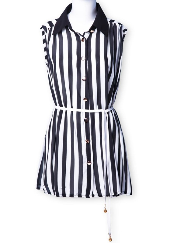 69ade2db28b830 Black and White Vertical Stripes Sleeveless Blouse. AddThis Sharing Buttons