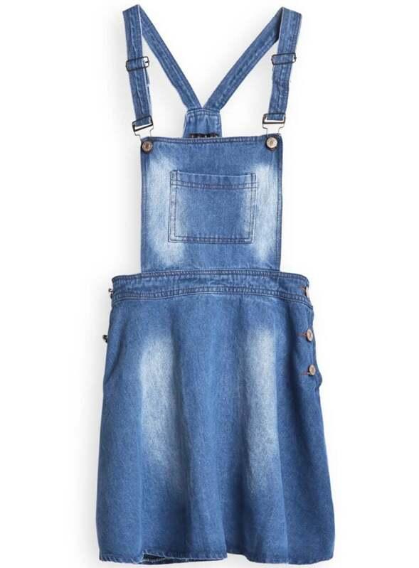 e8690ef4992 Blue Strap Pocket Buttons Loose Denim Pinafore Dress | SHEIN