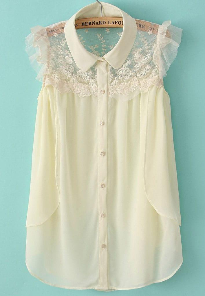Beige Sleeveless Contrast Lace Chiffon Blouse Shein