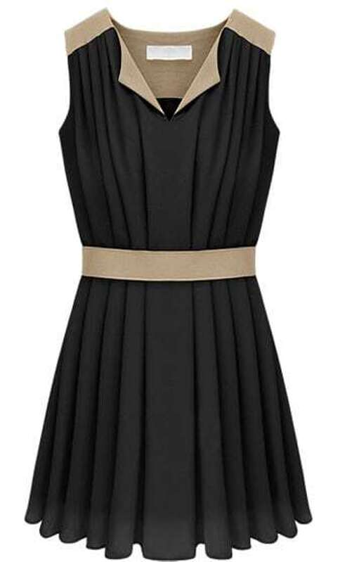 4a4704e37694 Black V-neck Sleeveless Contrast Panel Pleated Chiffon Dress. AddThis  Sharing Buttons