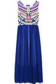 Blue Sleeveless Geometric Tribal Print Chiffon Dress