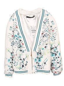 White Long Sleeve Phoenix Floral Print Jacket