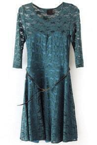 Green Half Sleeve Belt Lace Skater Dress