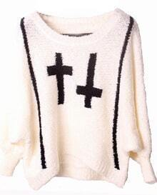 White Batwing Sleeve and Black Cross Pattern Sweater