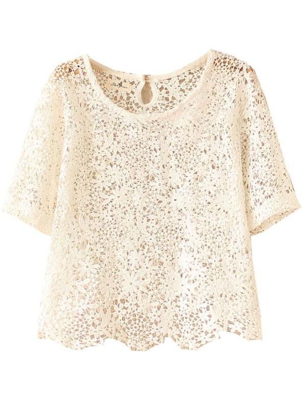 Beige Short Sleeve Crochet Lace Crop Top Shein