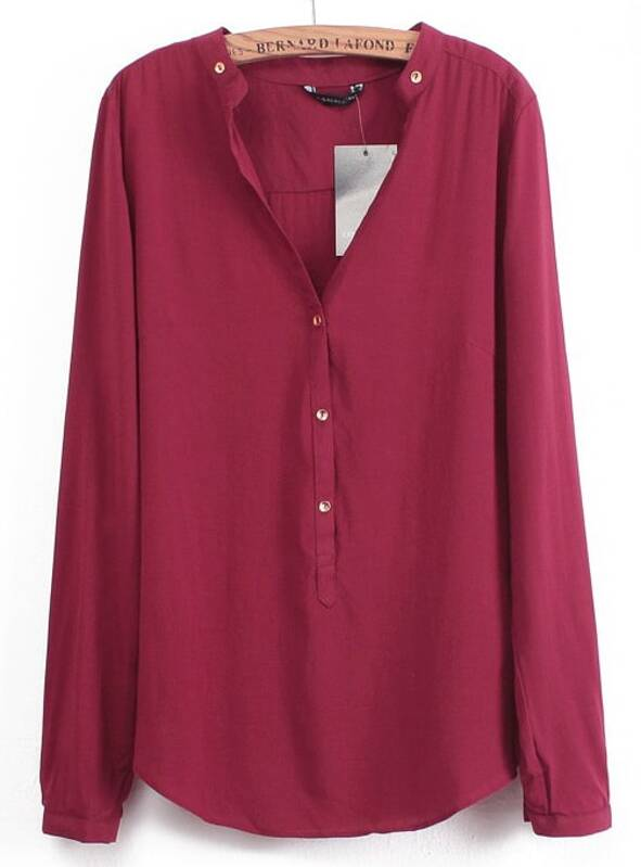 Wine Red V Neck Long Sleeve Buttons Blouse  a60a5fcf1