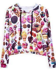 White Hooded Long Sleeve Biscuit Print Sweatshirt