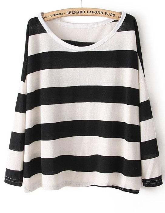 Black White Striped Long Sleeve Loose Sweater Shein