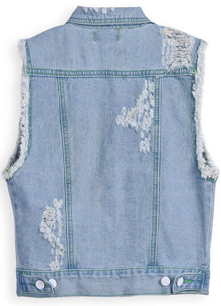 Blue Lapel Sleeveless Ripped Denim Jacket -SheIn(Sheinside)