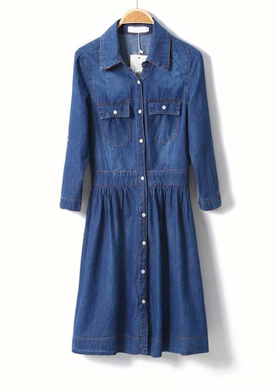 3cc4101287 Blue Long Sleeve Lapel Denim Shirt Dress -SheIn(Sheinside)