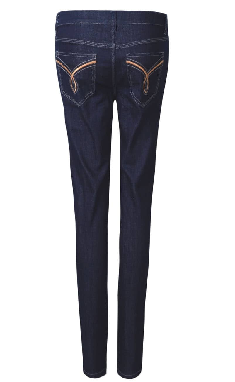 Dark Blue Classic Embroidered Back Pockets Jeans SheIn