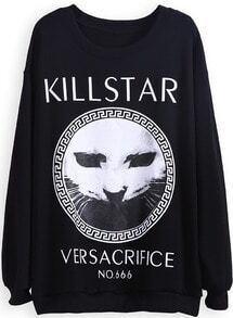 Black Long Sleeve KILLSTAR Cat Print Sweatshirt